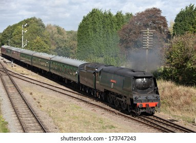 QUORN, UK - OCTOBER 7: Ex British Rail Light Pacific loco, Wadebridge enters Quorn station with a train full of paying passengers during the autumn steam gala on the GCR on October 7, 2011 in Quorn