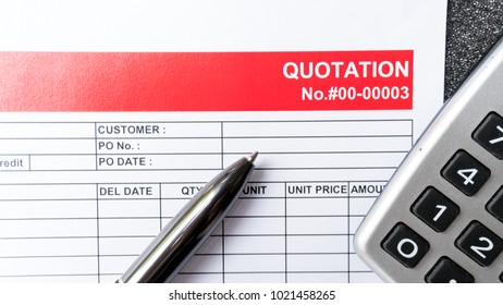 Quotation business document on paper background