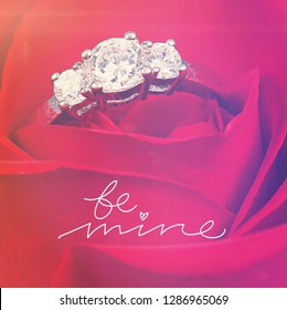 Quote - be mine with red rose