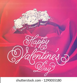 Quote - Happy Valentine's Day with red rose and ring