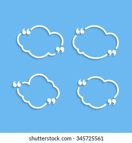 Quote outline clouds with commas set, template