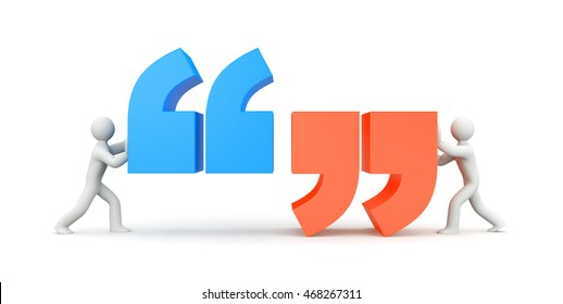Quote. People and quote symbol. 3d illustration
