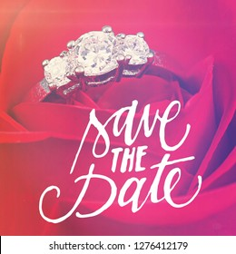 Quote - Save the Date on red rose with ring