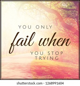 Quote - You only fail when you stop trying