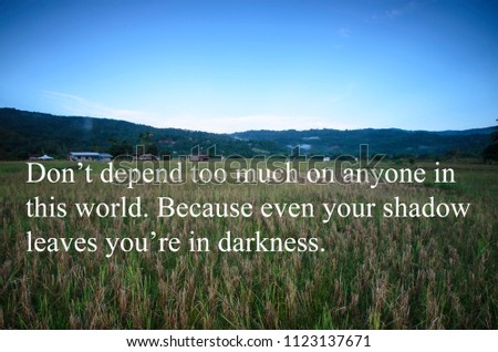 Quotes Dont Depend Much On Anyone Stock Photo Edit Now 1123137671