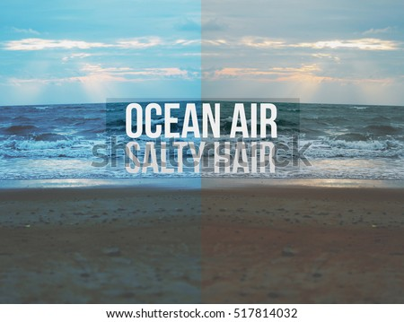Quotes Ocean Air Salty Hair Background Stock Photo Edit Now
