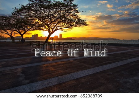 Quotes Peace Mind Background Beautiful Sunset Stock Photo Edit Now