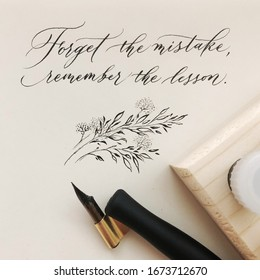 Quotes written in modern calligraphy style with an oblique pen holder and pointed nib.
