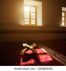 Quran - holy book of Muslims, scene in a mosque