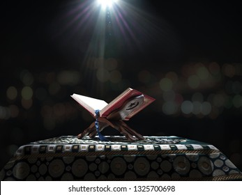 Quran or Kuran ( the islamic holy book) on black background with rosary bead ready to read in ramadan night, muslim style and ramadan concept