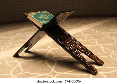 Quran on a wooden stand in mosque. Quran is holy book religion of Islam