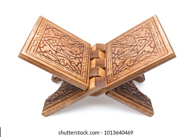 Quran Rahle - wooden stand, isolated on a white background