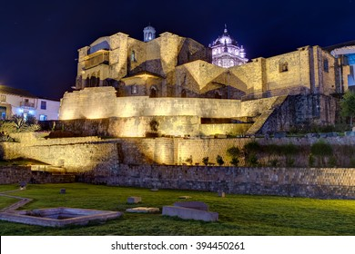 Qurikancha or Coricancha or Inti Kancha or Inti Wasi or Kiswar Kancha or Inca Wiracocha temple and palace in Cusco, Peru by night