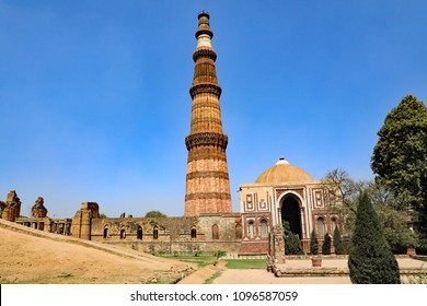The Qutb Minar, minaret, in New Delhi, India, the tallest stone tower in India.