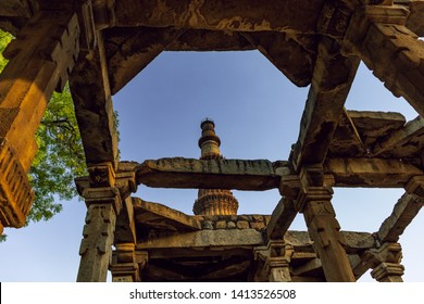 The Qutub Minar -  73-metre tall tapering tower of five storeys, also spelled as Qutab Minar, is a minaret that forms part of the Qutb complex, a UNESCO World Heritage Site in Delhi, India