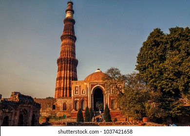 Qutub Minar Complex, Delhi, India, September 2017. Detail of Qutub Minar, the tallest free-standing stone tower in the world, constructed with red sandstone and marble in 1199 AD.