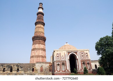 Qutub Minar, New Delhi. Qutub MInar is a 73 meters tall minaret in New Delhi, built during the twelfth, thirteenth and fourteenth centuries. Qutub Minar is a UNESCO World Heritage Site.