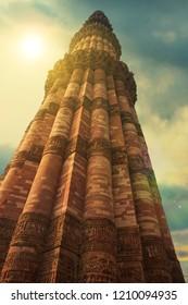 QUTUB MINAR, Qutub Minar is the tallest brick minaret in the world in india, December 12, 2008