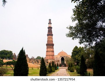Qutub Minar, the tallest free-standing stone tower in the world, and the tallest minaret in India, constructed with red sandstone and marble in 1199 AD. UNESCO World Heritage. India
