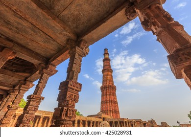 Qutub Minar, The tallest minaret in India is a marble and red sandstone tower that represents the beginning of Muslim rule in the country, Delhi, Old Delhi, New Delhi, India