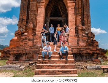 Quy Nhon City, Viet Nam - May 16, 2019: The team posing photoshoot together at Banh It temple