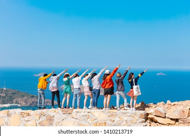 Quy Nhon City, Viet Nam - May 15, 2019: The team posing for the photoshoot on the beach