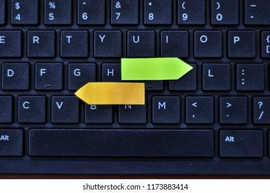 Qwerty keyboard close up.