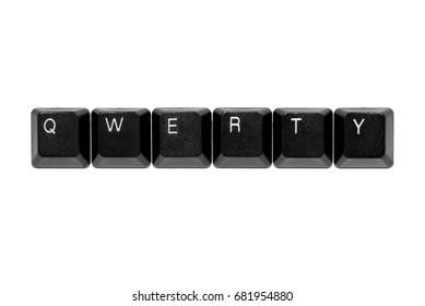 qwerty keyboard keys on white background