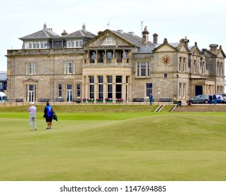 The R& A Clubhouse, Royal and ancient on the old course, public golf course in St Andrews, Fife, Scotland UK. July 2018