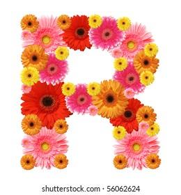 R, flower alphabet isolated on white