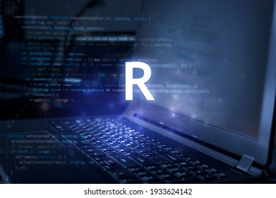 R programming language inscription against laptop and code background. Learn r, computer courses, training.