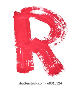 R - Red handwritten letters over white background