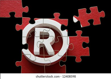 R Registered trademark - puzzle incomplete - illustration