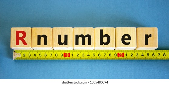 R - reproduction number symbol. Wooden cubes with word R - reproduction number arranged behind the ruler on beautiful blue background. Covid-19 pandemic R - reproduction number concept