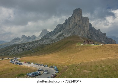 Ra Gusela, an impressive pyramide-shaped mountain in Cristallo-Faloria group, as seen from Passo Giau, Alta Via 1 trek, Cortina d'Ampezzo, Belluno province, Dolomites, South Tyrol, Italy