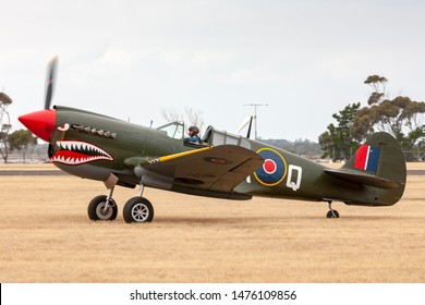 RAAF Williams, Point Cook, Australia - March 1, 2014: Curtiss P-40N Kittyhawk World War II fighter aircraft VH-ZOC.
