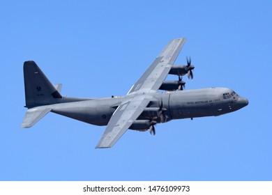 RAAF Williams, Point Cook, Australia - February 28, 2014: Royal Australian Air Force Lockheed Martin C-130J-30 Hercules military cargo aircraft A97-466.
