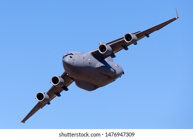 RAAF Williams, Point Cook, Australia - March 2, 2014: Royal Australian Air Force (RAAF) Boeing C-17A Globemaster III Large military cargo aircraft A41-206 from 36 Squadron based at RAAF Amberley.