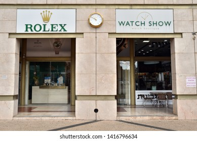 RA'ANANA, ISRAEL - MARCH 1, 2019: Store front of a Rolex Watch Show. Rolex, a Swiss luxury watch manufacturer based in Geneva, Switzerland.