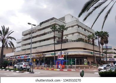RA'ANANA, ISRAEL - MARCH 4, 2019: Bauhaus architecture buildings in the city centre of Ra'anana.
