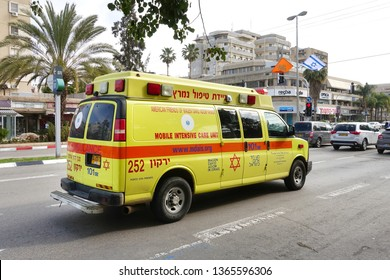 RA'ANANA, ISRAEL - MARCH 5, 2019: Red Star of David Ambulance, mobile intensive care unit donated by American friends of Magen David Adom.