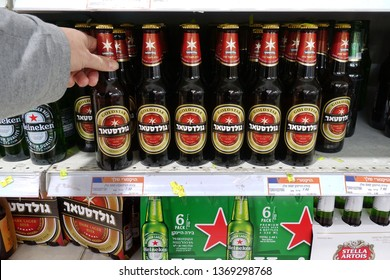 RA'ANANA, ISRAEL - MARCH 6, 2019: Beer from different brands in a Victory Supermarket. Goldstar is an Israeli brand of dark lager beer brewed by Tempo Beer Industries in Netanya.