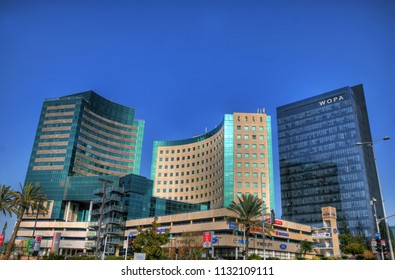 RAANANA, ISRAEL, MAY 12: high tech concept in Israel - 3 modern buildings of tech offices in a high tech park in the center of Israel near Tel Aviv, Israel, May 12, 2018