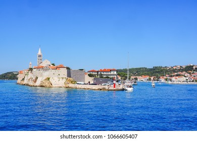 Rab, Croatia - 08/30/2017: Cityscape of the city Rab, Croatia, seen from the water