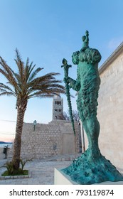 Rab, Croatia - December 30, 2017: Statue of Saint Christopher beside St. Mary the Blessed, Rab Town, Rab Island, Croatia