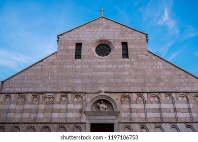 Rab Island, Croatia - 8 August 2018 - The Cathedral of the Holy Virgin Mary's Assumption on Rab Island in  Croatia.