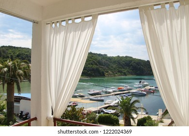 Rab island, Croatia: The bay of Supetarska Draga, seen from a pensions' balcony. South-east Europe.