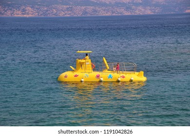 Rab island, Croatia - July 16, 2018: Underwater sightseeing boat on the adriatic sea. Rab island, near Lopar and paradise beach. South-east Europe.