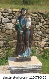 Rab, Rab island, Croatia - July 18, 2018: Statue of Saint francis, in the garden of the Franciscan monastery of St. Anthony Abbot. Founded in the 11th century. South-east Europe.