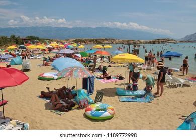 Rab island, Croatia - July 19, 2018: The Livacina beach in Lopar, island of Rab, Croatia. South-east Europe.